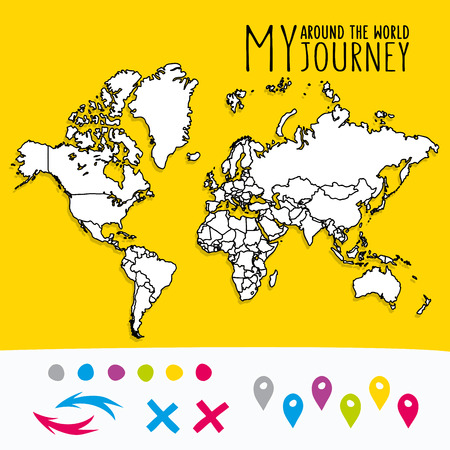 Hand drawn world map with pins and arrows vector design. Cartoon style atlas illustration. Travel around the world poster Stock Illustratie