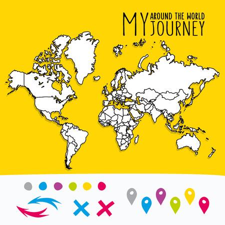 mundo manos: Mano mapa del mundo dibujado con el diseño de los pernos y flechas del vector. Ilustración atlas estilo de dibujos animados. Viaje alrededor del mundo poster Vectores