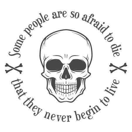 muerte: scull vector de la maldad humana. fondo cotización muerte. La motivación de diseño t-shrt. Ilustración digital con la bandera pirata