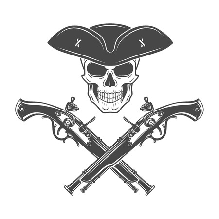 musket: Evil captain skull in cocked hat vector. Jolly Roger logo template. death t-shirt design. Pistol insignia concept