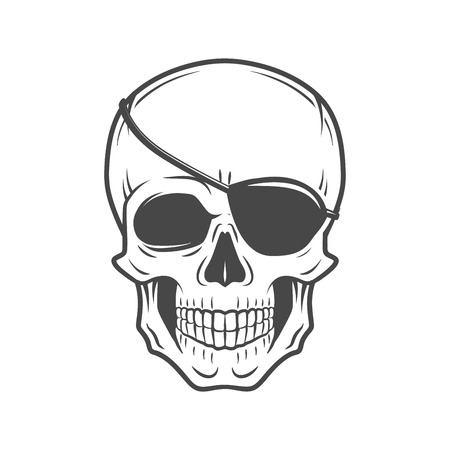 Human evil skull vector. Jolly Roger with eyepatch logo template. death t-shirt design. Pirate insignia concept. Illustration