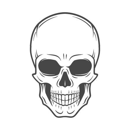 Human evil skull vector. Jolly Roger logo template. death t-shirt design. Pirate insignia concept. Poison icon illustration. 일러스트