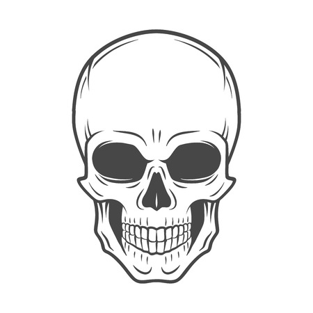 Human evil skull vector. Jolly Roger logo template. death t-shirt design. Pirate insignia concept. Poison icon illustration. Vettoriali