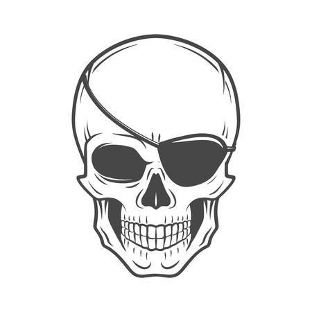 Jolly Roger mit Augenklappe Logo-Vorlage. Schlechter Schädel vector. Dunkles T-Shirt-Design. Piraten-Insignien Konzept.