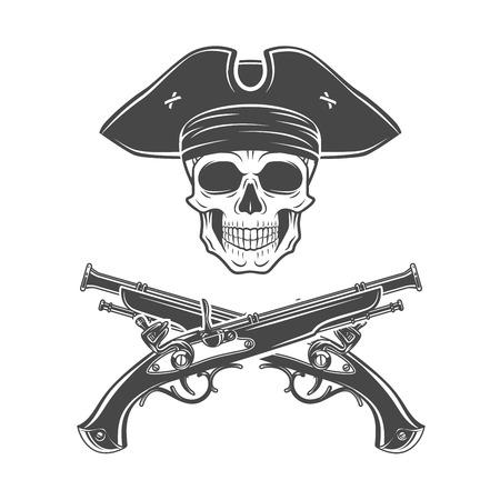 コックド ハット ベクトルで邪悪なキャプテン スカル。ジョリー Roger のロゴのテンプレート。死 t シャツ デザイン。ピストル記章コンセプト