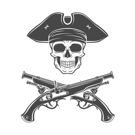 life and death: Evil captain skull in cocked hat vector. Jolly Roger logo template. death t-shirt design. Pistol insignia concept