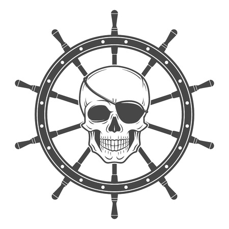 schooner: Jolly Roger with eyepatch logo template.  Dark t-shirt design. Pirate insignia concept.