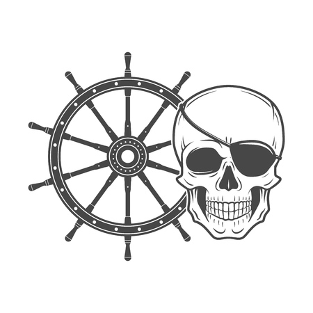 eyepatch: Jolly Roger with eyepatch logo template.  Dark t-shirt design. Pirate insignia concept.