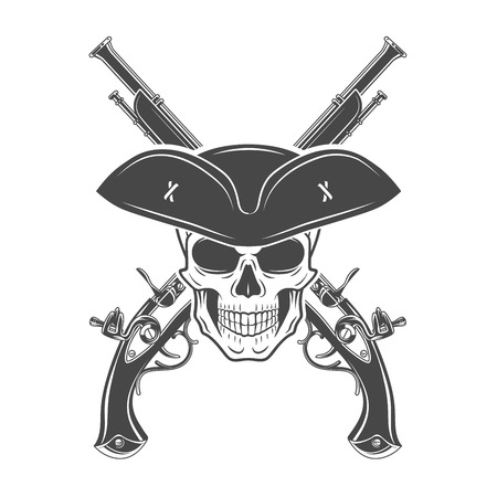 Evil captain skull in cocked hat vector. Jolly Roger logo template. death t-shirt design. Pistol insignia concept