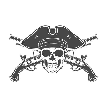 carribean: Evil captain skull in cocked hat vector. Jolly Roger logo template. death t-shirt design. Musket insignia concept