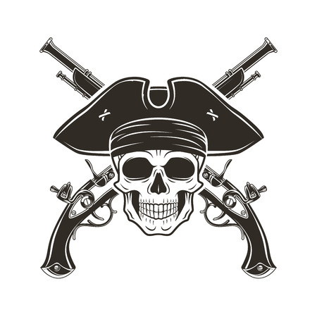 roger: Evil captain skull in cocked hat vector. Jolly Roger logo template. death t-shirt design. Pistol insignia concept