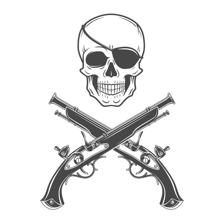 eyepatch: Jolly Roger with eyepatch and pistols logo template. Evil skull vector icon. Dark t-shirt design. Pirate insignia concept.