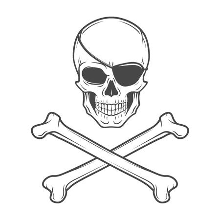 calavera pirata: Jolly Roger, con plantilla de logotipo parche en el ojo. Vector Cráneo malvado. Diseño de la camiseta oscura. Concepto insignia pirata. Vectores