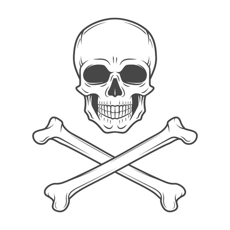 life and death: Human evil skull vector. Jolly Roger with crossbones logo template. death t-shirt design. Pirate insignia concept. Poison icon illustration