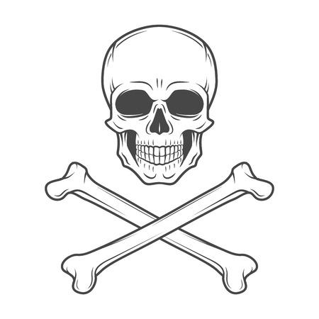 muerte: Vector cr�neo maldad humana. Rogelio alegre con las tibias cruzadas logotipo de la plantilla. dise�o de la muerte camiseta. Concepto insignia pirata. Icono Poison ilustraci�n Vectores