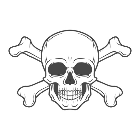 crossbones: Human evil skull vector. Pirate insignia concept design. Jolly Roger with crossbones logo template. death t-shirt concept. Poison icon illustration.