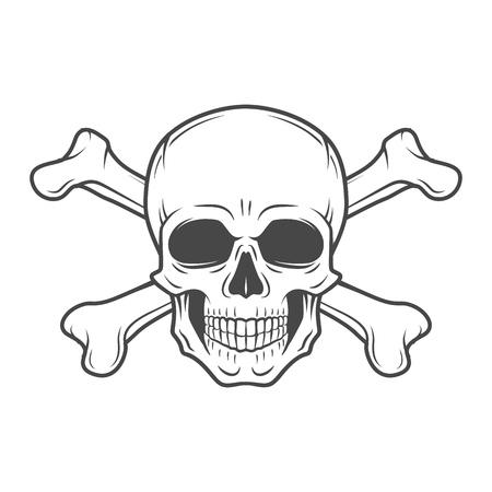 Menschliche Böse Schädel Vektor. Piraten-Insignien concept design. Jolly Roger mit gekreuzten Knochen-Logo-Vorlage. Tod T-Shirt-Konzept. Gift icon. Standard-Bild - 47865698