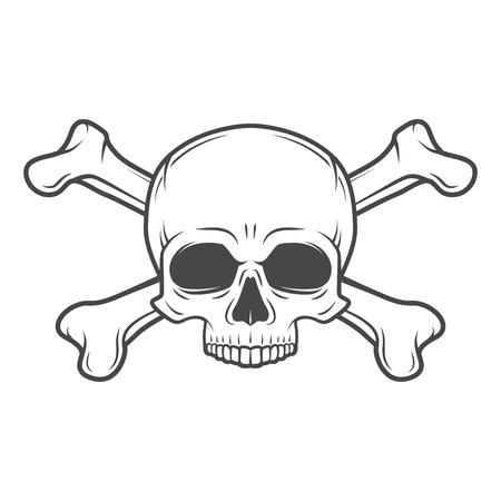 인간의 악마 두개골 벡터입니다. Jolly Roger와 crossbones 로고 템플릿. 죽음의 티셔츠 디자인. 해 적 휘장 개념입니다. 포이즌 아이콘 일러스트 일러스트