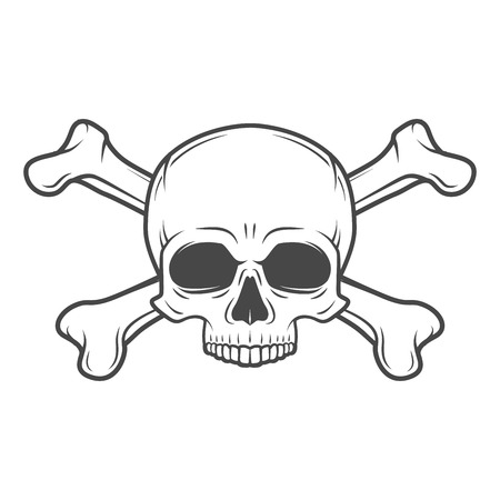 Human evil skull vector. Jolly Roger with crossbones logo template. death t-shirt design. Pirate insignia concept. Poison icon illustration