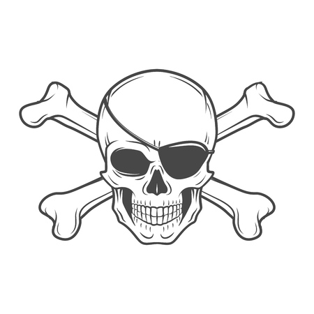 Jolly Roger with eyepatch logo template. Evil skull vector. Dark t-shirt design. Pirate insignia concept.