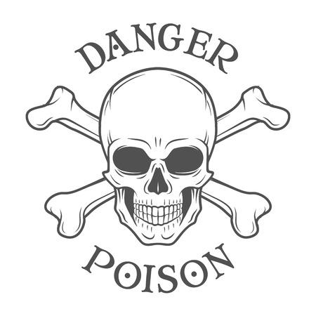 muerte: Vector cráneo maldad humana. Rogelio alegre con las tibias cruzadas logotipo de la plantilla. diseño de la muerte camiseta. Concepto insignia pirata. Icono Poison ilustración Vectores