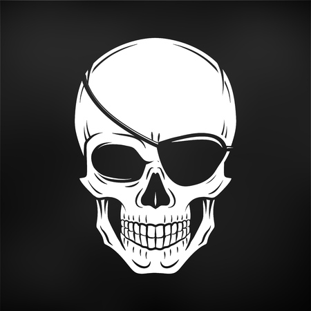 eyepatch: Jolly Roger with eyepatch logo template. Evil skull. Dark t-shirt design. Pirate insignia concept.