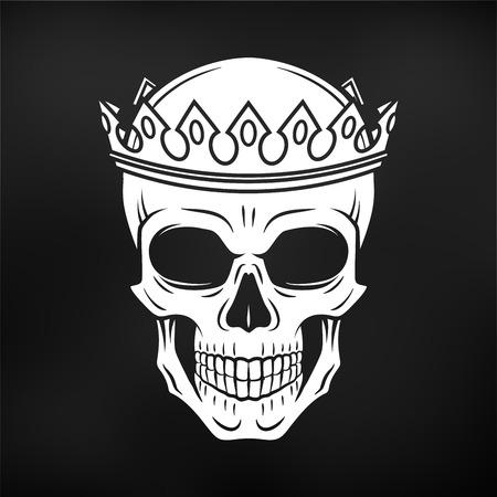 두개골 왕 크라운 디자인 요소입니다. 빈티지 로얄 티셔츠 그림입니다. 어두운 해골 휘장 개념 일러스트