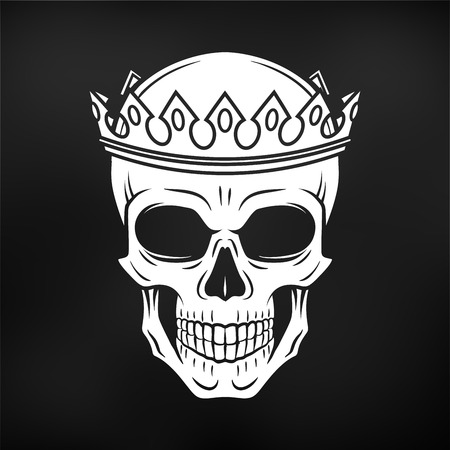 Skull King Crown design element. Vintage Royal t-shirt illustration. Dark skeleton insignia concept Ilustração