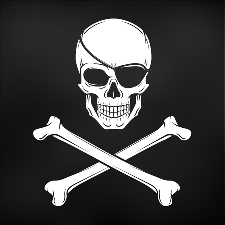 roger: Jolly Roger with eyepatch logo template. Evil skull. Dark t-shirt design. Pirate insignia concept.