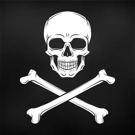 poison: Human evil skull vector. Jolly Roger with crossbones logo template. death t-shirt design. Pirate insignia concept. Poison icon illustration
