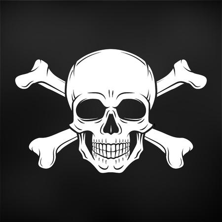 인간의 악마 두개골입니다. Jolly Roger와 crossbones 로고 템플릿. 죽음의 티셔츠 디자인. 해 적 휘장 개념입니다. 독 아이콘 그림