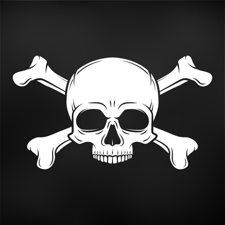 jolly roger: Human evil skull. Jolly Roger with crossbones logo template. death t-shirt design. Pirate insignia concept. Poison icon illustration