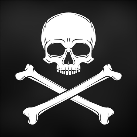 skull and crossbones: Human evil skull. Pirate insignia concept design. Jolly Roger with crossbones logo template. death t-shirt concept. Poison icon illustration. Illustration