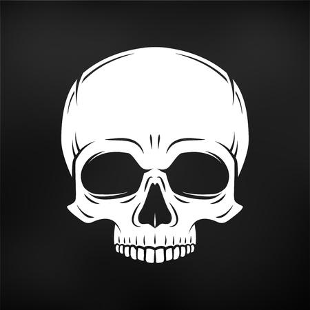 인간의 악마의 두개골. 졸리 로저 로고 템플릿. 죽음의 티셔츠 디자인. 해 적 휘장 개념입니다. 독 아이콘 그림입니다.
