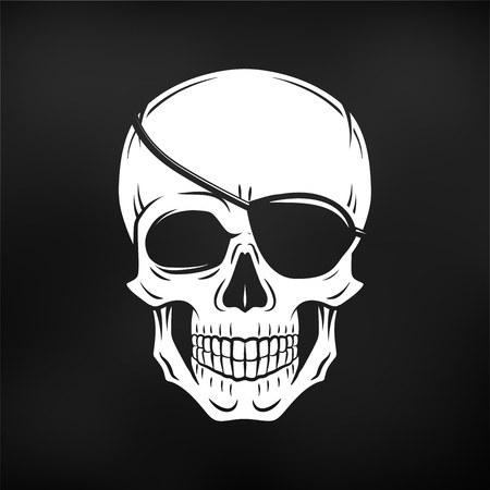eyepatch: Human evil skull vector. Jolly Roger with eyepatch logo template. death t-shirt design. Pirate insignia concept. Illustration