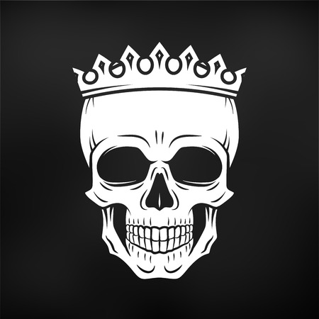 Skull King Crown design element. Vintage Royal illustration in medieval style. Dark Kingdom insignia concept Ilustração