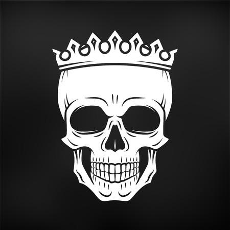 roger: Skull King Crown design element. Vintage Royal illustration in medieval style. Dark Kingdom insignia concept Illustration