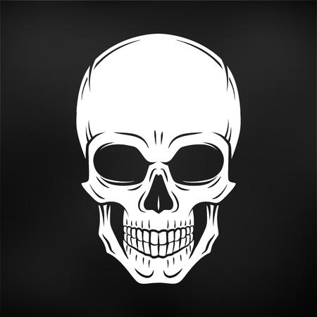 인간의 악한 두개골 벡터. 졸리 로저 로고 템플릿입니다. 죽음 t 셔츠 디자인. 해적 휘장 개념입니다. 독 아이콘 그림입니다. 일러스트