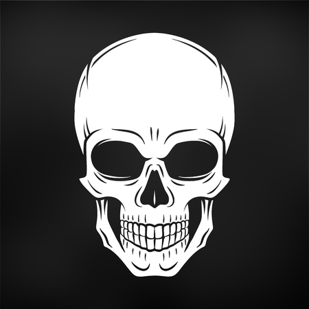 Human evil skull vector. Jolly Roger logo template. death t-shirt design. Pirate insignia concept. Poison icon illustration. Çizim