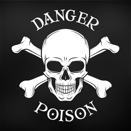 deaths: Human evil skull vector. Jolly Roger with crossbones logo template. death t-shirt design. Pirate insignia concept. Poison icon illustration