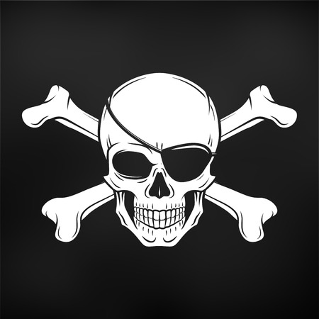 eyepatch: Jolly Roger with eyepatch logo template. Evil skull vector. Dark t-shirt design. Pirate insignia concept.
