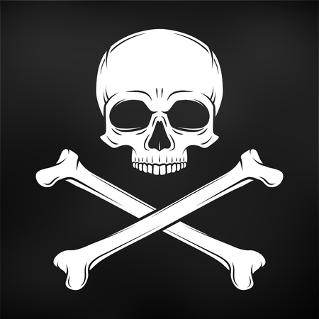 roger: Human evil skull vector. Pirate insignia concept design. Jolly Roger with crossbones logo template. death t-shirt concept. Poison icon illustration.