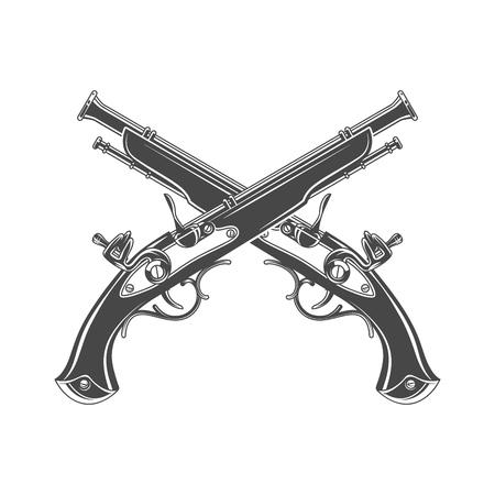 Firelock musket vector. Armoury logo template. Victorian t-shirt design. Steampunk pistol insignia concept Stock Illustratie