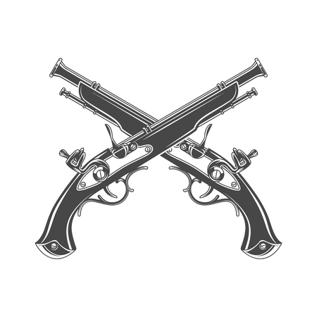 Firelock musket vector. Armoury logo template. Victorian t-shirt design. Steampunk pistol insignia concept Illustration