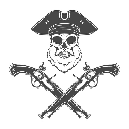 rogue: Captain skull with beard in cocked hat vector. Jolly Roger logo template. death t-shirt design. Victorian pistol insignia concept.