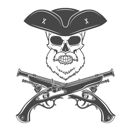 goatee: Captain skull with beard in cocked hat vector. Jolly Roger logo template. death t-shirt design. Victorian pistol insignia concept.