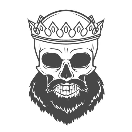 tyrant: Bearded Skull King with Crown. Vintage Cruel tyrant portrait design. Royal t-shirt illustration. Old prince logo template Illustration