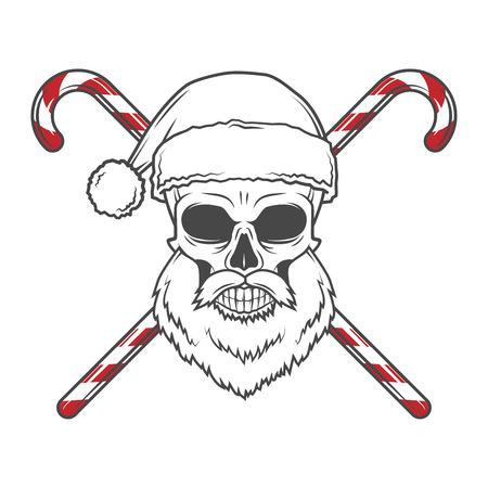 Bearded Skull King with Crown. Vintage Cruel tyrant portrait design. Royal t-shirt illustration. Old prince logo template. Stock Illustratie