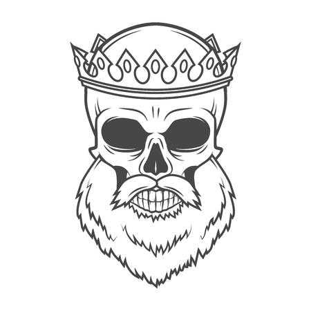 Bearded Skull King with Crown vector design. Vintage Royal old man illustration. Medieval style. Stock Illustratie