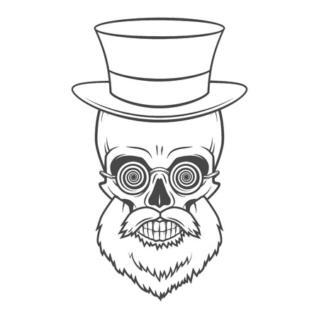 gramineas: Bearded skull with hypnotic grasses and top hat. Crazy steampunk professor portrait. Dead victorian doctor vintage logo.